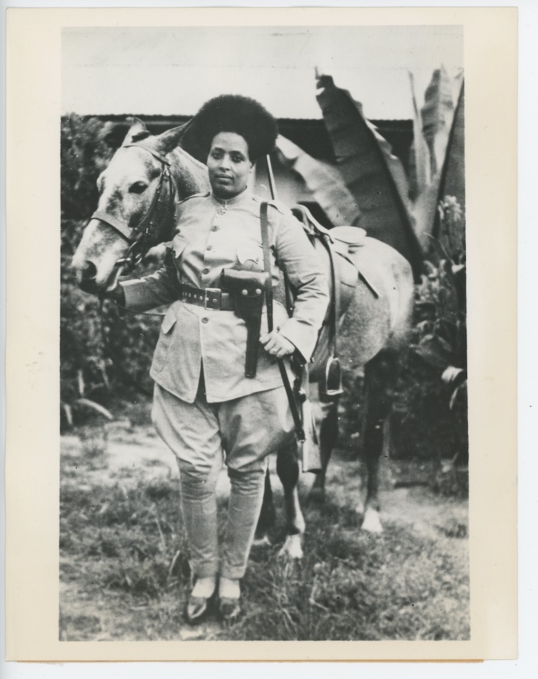 A female Ethiopian soldier with a horse. From the collection of Maaza Mengiste.