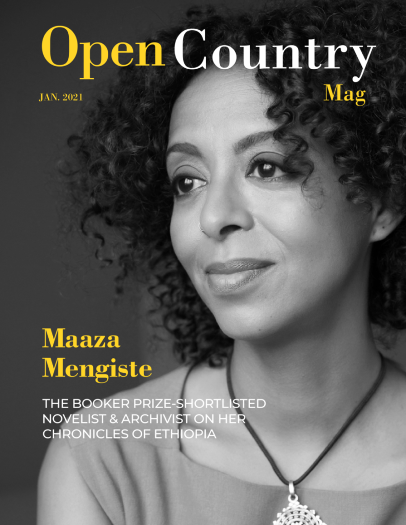 Maaza Mengiste on the cover. Design by Open Country Mag/Zeph.