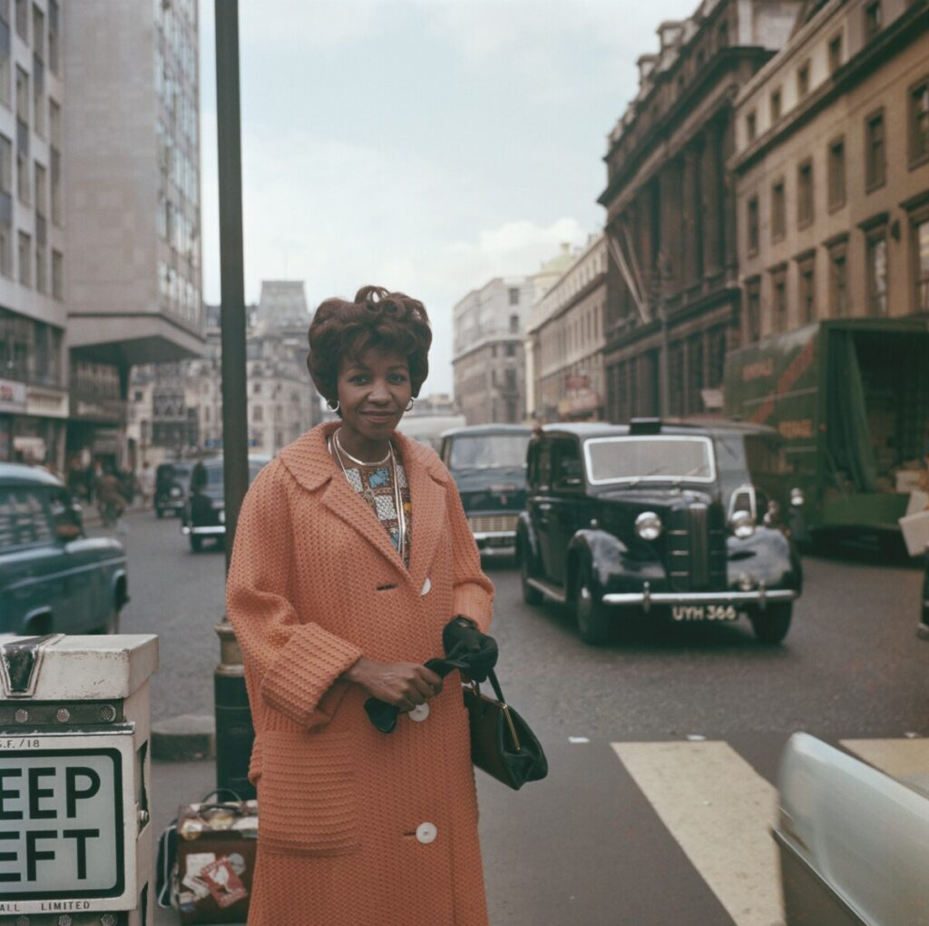 Noni Jabavu standing in front of The Strand office in London, 1961. Credit: Rolls Press. Source: Getty Images.