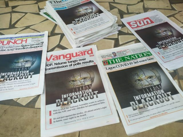 """""""Information Blackout"""": Nigerian newspapers stage collective protest."""